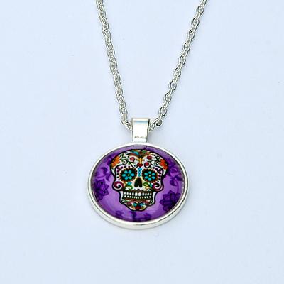Colgante Calavera Mejicana lila